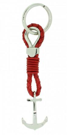 HAFEN-KLUNKER Sailor Collection Schlüsselanhänger Anker 108061 Leder Edelstahl rot silber