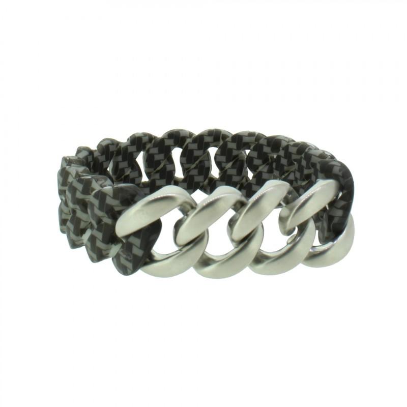 HANSE-KLUNKER ORIGINAL Herren Armband 107983 Edelstahl carbon style silber matt