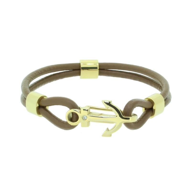 HAFEN-KLUNKER Anker Armband 110506 Edelstahl Leder Zirkonia Hellbraun Gold