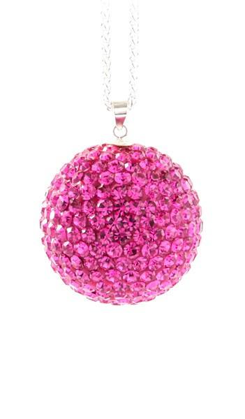 Crystal Line Anhänger TPAH110SW Kugel groß Silber pink