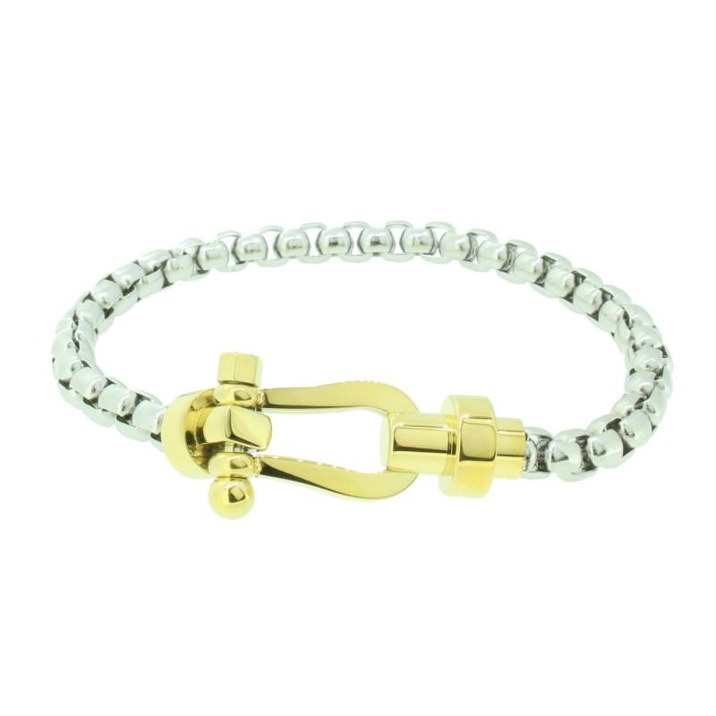 HAFEN-KLUNKER HAPPINESS Collection Armband Schäkel 110535 Edelstahl Silber Gold