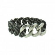 HANSE-KLUNKER ORIGINAL Damen Armband 107925 Edelstahl carbon style silber matt