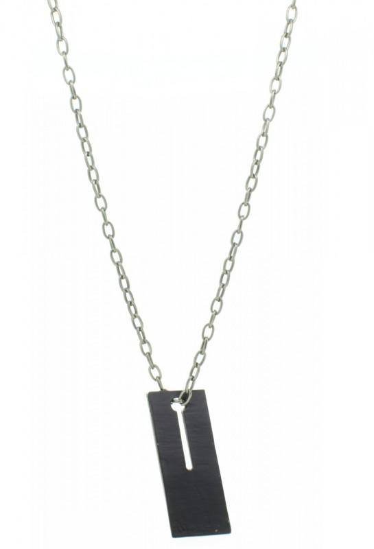 THO Herren Kette Doppelplakette schwarz / silber 107821 THO-KT009 Edelstahl silber