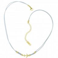 HAFEN-KLUNKER Choker Halskette Anker 108198 Textil Edelstahl Hellgrau Gold