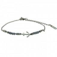 HAFEN-KLUNKER Anker Armband 108182 Textil Edelstahl Hellgrau Silber
