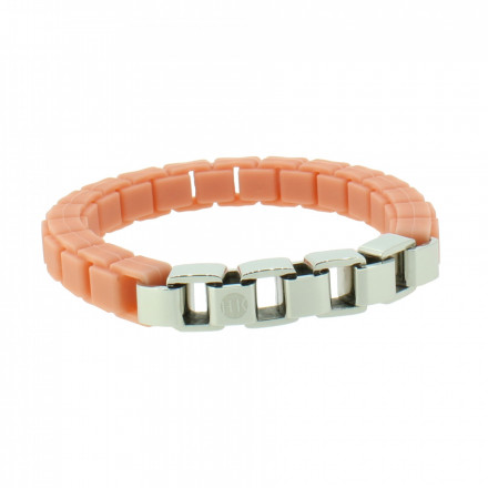 HANSE-KLUNKER FASHION Damen Armband 108000 Edelstahl beigerot silber