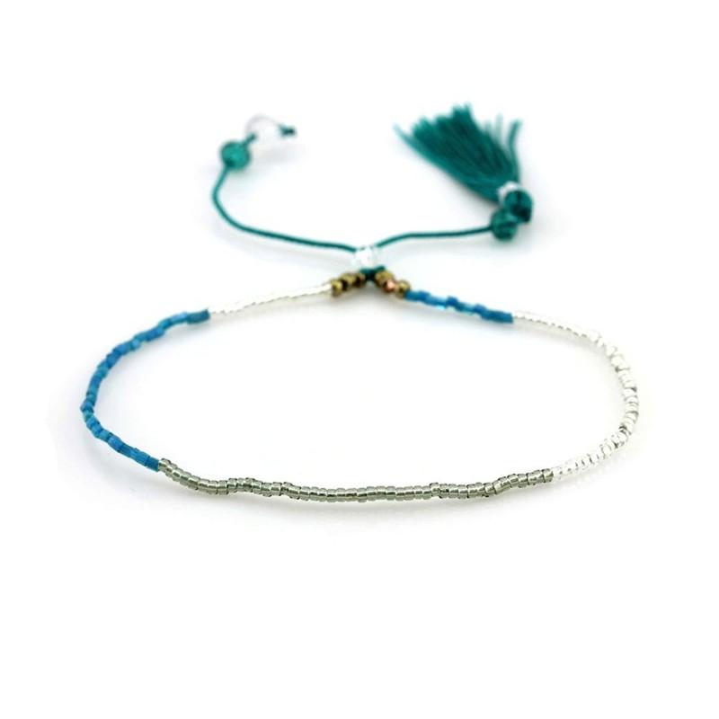 PEARL BAY Perlenarmband Quaste 110477 Metall und Naturstein blau weiß silber grün