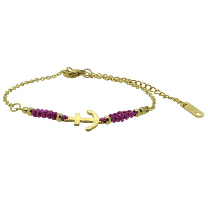 HAFEN-KLUNKER HARMONY Anker Armband 110417 Textil Edelstahl Fuchsia Gold
