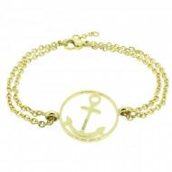 HAFEN-KLUNKER Glamour Collection Anker Armband 108032 Edelstahl rund gold