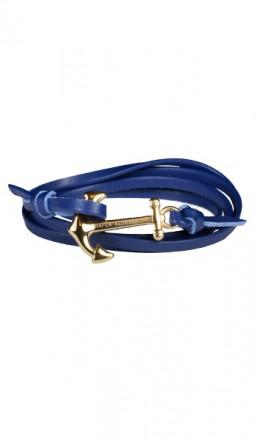 HAFEN-KLUNKER Wickelarmband Anker 107744 Edelstahl Leder blau gold