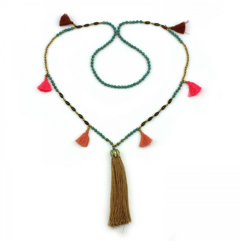 PEARL BAY Damen Perlenkette 107605 Quaste Stein Metall braun türkis