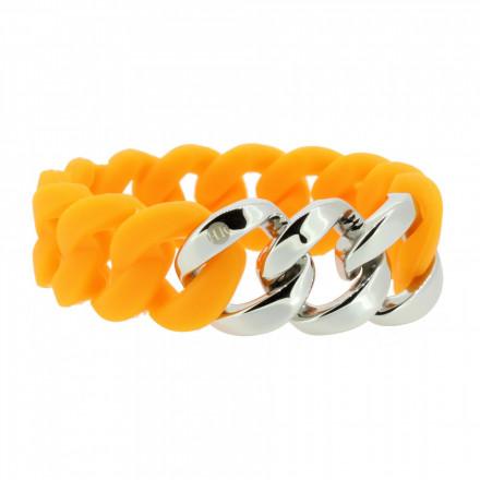 HANSE-KLUNKER ORIGINAL Damen Armband 106798 Edelstahl orange silber