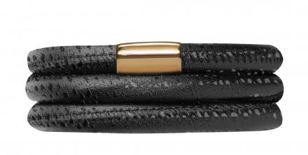 Endless JLo Armband Schwarz Reptil 1053-57 3 reihig Leder schwarz