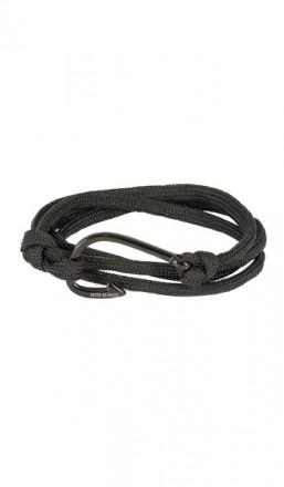HAFEN-KLUNKER Wickelarmband Angelhaken 107655 Edelstahl Textil schwarz schwarz
