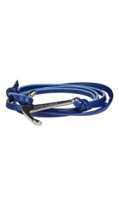 HAFEN-KLUNKER Wickelarmband Anker 107742 Edelstahl Leder blau silber