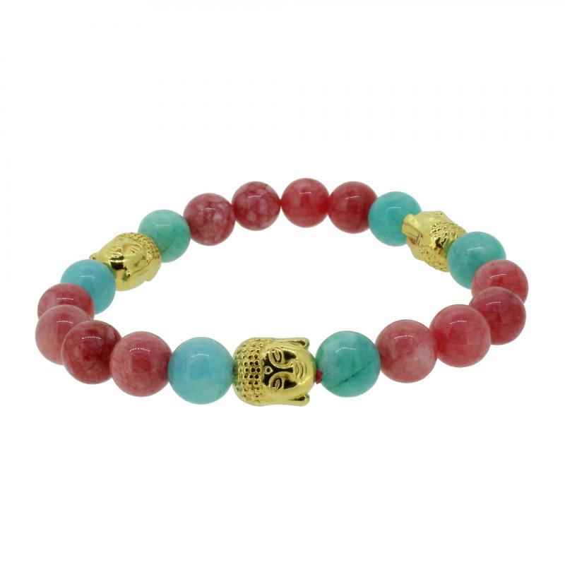 Silverart Buddha Armband 108104 FAB087 Achat rot türkis Metal nickelfrei vergoldet
