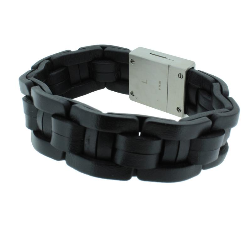 POLICE Herren Armband PJ24411BLB-01-L Leder schwarz