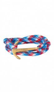 HAFEN-KLUNKER Wickelarmband Anker 107677 Edelstahl Textil blau rot meliert gold matt