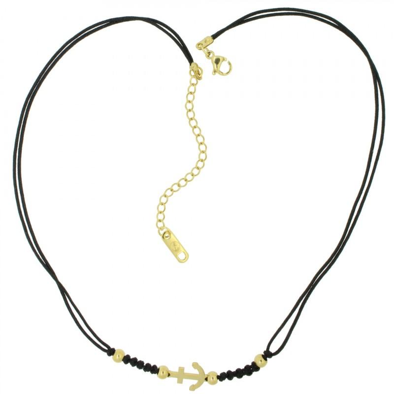 HAFEN-KLUNKER HARMONY Choker Halskette Anker 110438 Textil Edelstahl Schwarz Gold