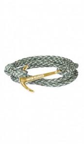 HAFEN-KLUNKER Wickelarmband Anker 107703 Edelstahl Textil grün meliert gold