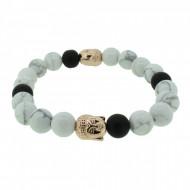 Silverart Buddha Armband 108095 FAB083 Obsidian Howlith weiß schwarz Metal nickelfrei rosegold