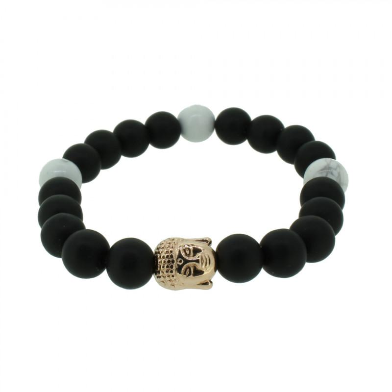 Silverart Buddha Armband 108093 FAB082 Obsidian Howlith schwarz weiß Metal nickelfrei rosegold