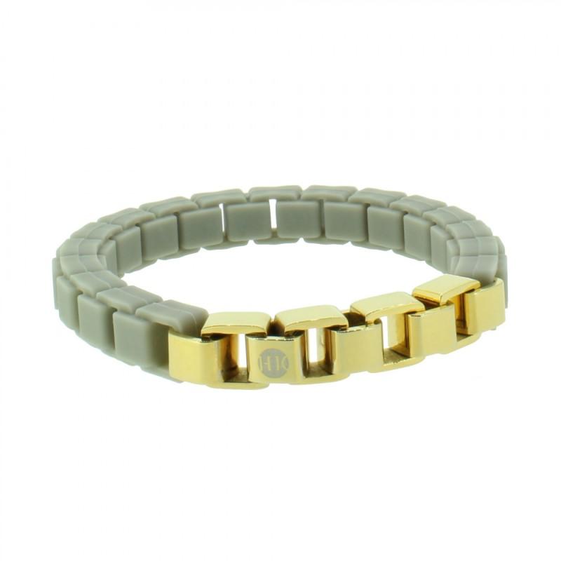 HANSE-KLUNKER FASHION Damen Armband 107997 Edelstahl kieselgrau gold