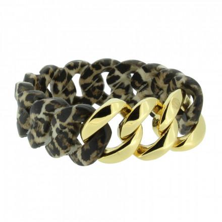 HANSE-KLUNKER ORIGINAL Damen Armband 107035 Edelstahl leopard gold