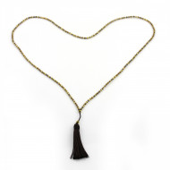 PEARL BAY Damen Perlenkette 107587 Quaste Miyuki Hämatit braun gold