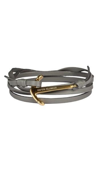 HAFEN-KLUNKER Wickelarmband Anker 107747 Edelstahl Leder grau gold