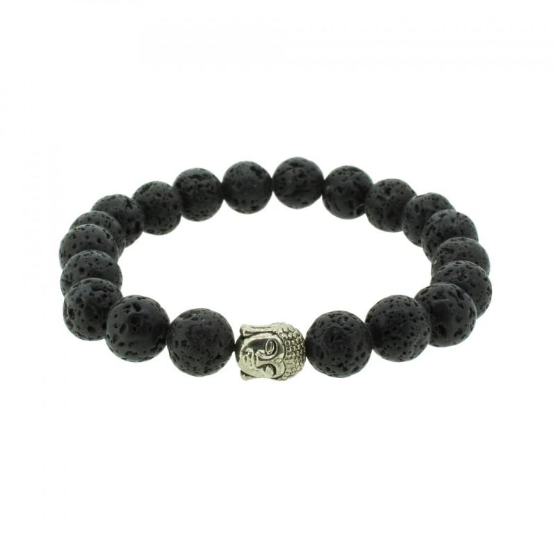 Silverart Buddha Armband 107835 FAB045 Lavastein schwarz Metal nickelfrei versilbert