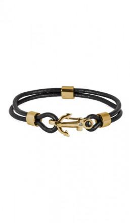 HAFEN-KLUNKER Anker Armband 107685 Edelstahl Leder Zirkonia schwarz gold
