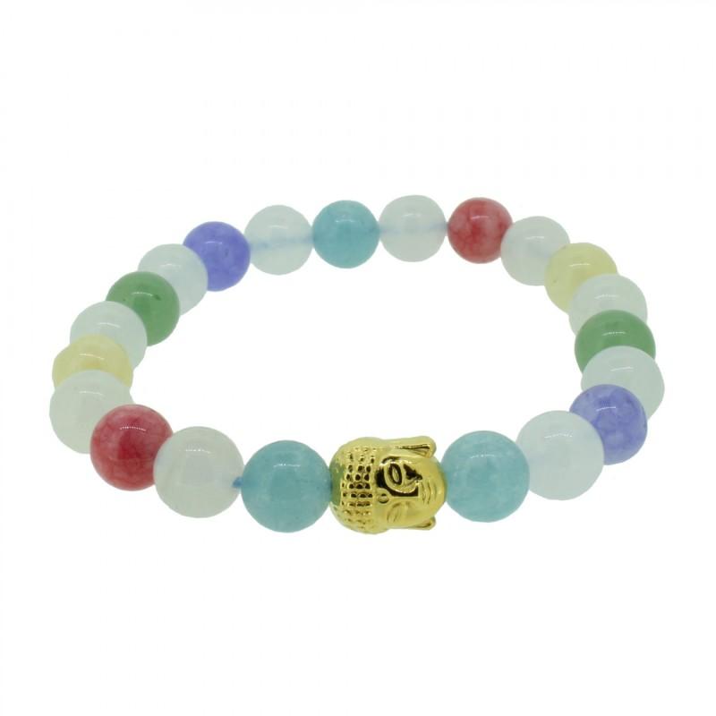 Silverart Buddha Armband 108086 FAB078 Aquamarin Achat Honig-Jade und Aventurin bunt Metal nickelfrei vergoldet