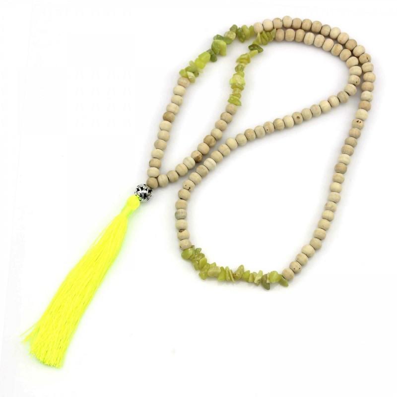 PEARL BAY Damen Perlenkette 107613 Quaste Holz Stein neongelb beige