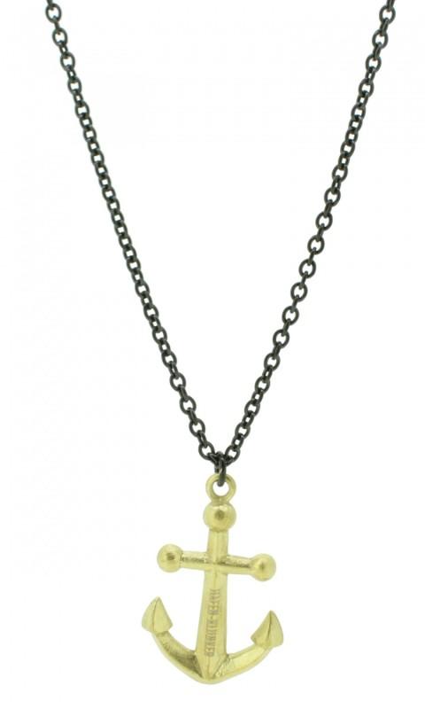 Kette Damen Herren Unisex Schwarz Gold Mit Anker Anhänger Edelstahl Halskette (50+5 cm) perfekt geeignet als Geschenk