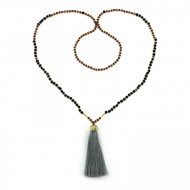 PEARL BAY Damen Perlenkette 107624 Quaste Miyuki Lava Kristall grau braun schwarz