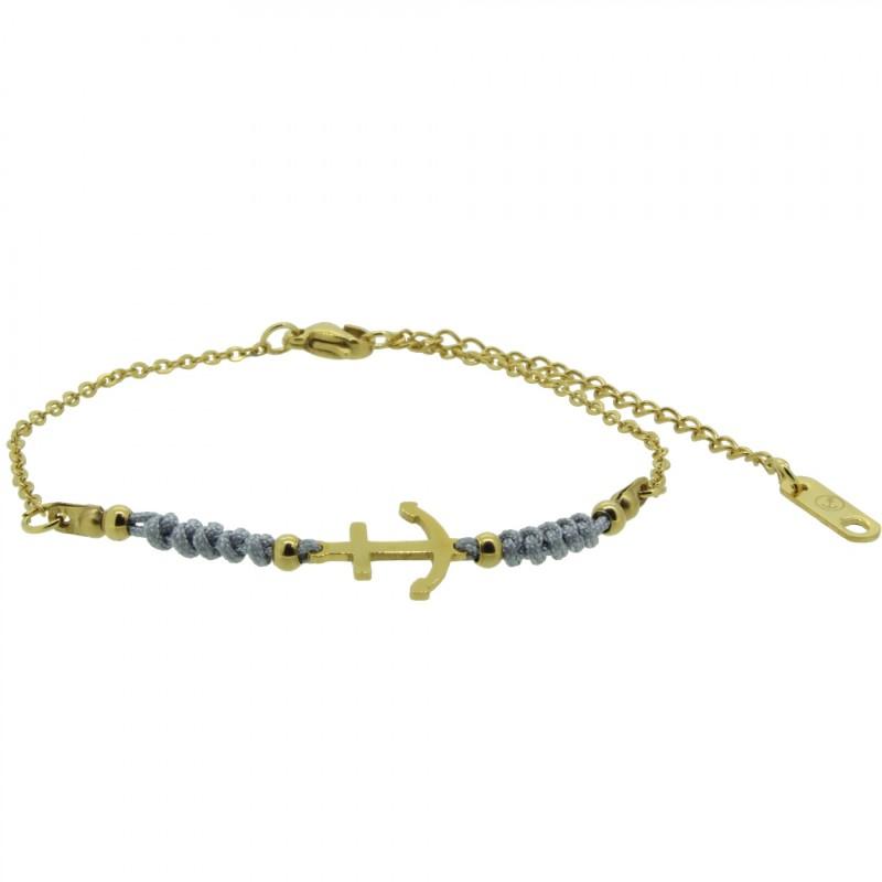 HAFEN-KLUNKER HARMONY Anker Armband 110420 Textil Edelstahl Grau Gold