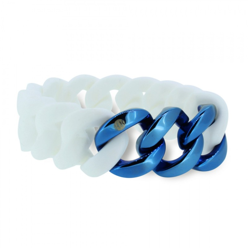 HANSE-KLUNKER ORIGINAL Damen Armband 106974 Edelstahl weiss blau