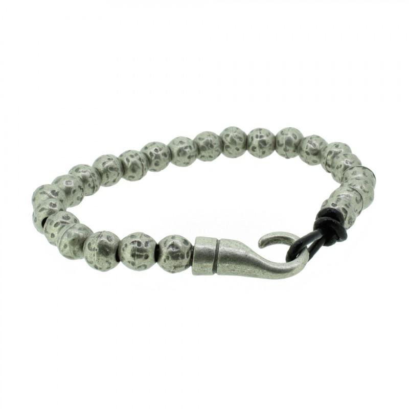THO Herren Armband 107805 THO-AB006 Metal nickelfrei Leder grau schwarz