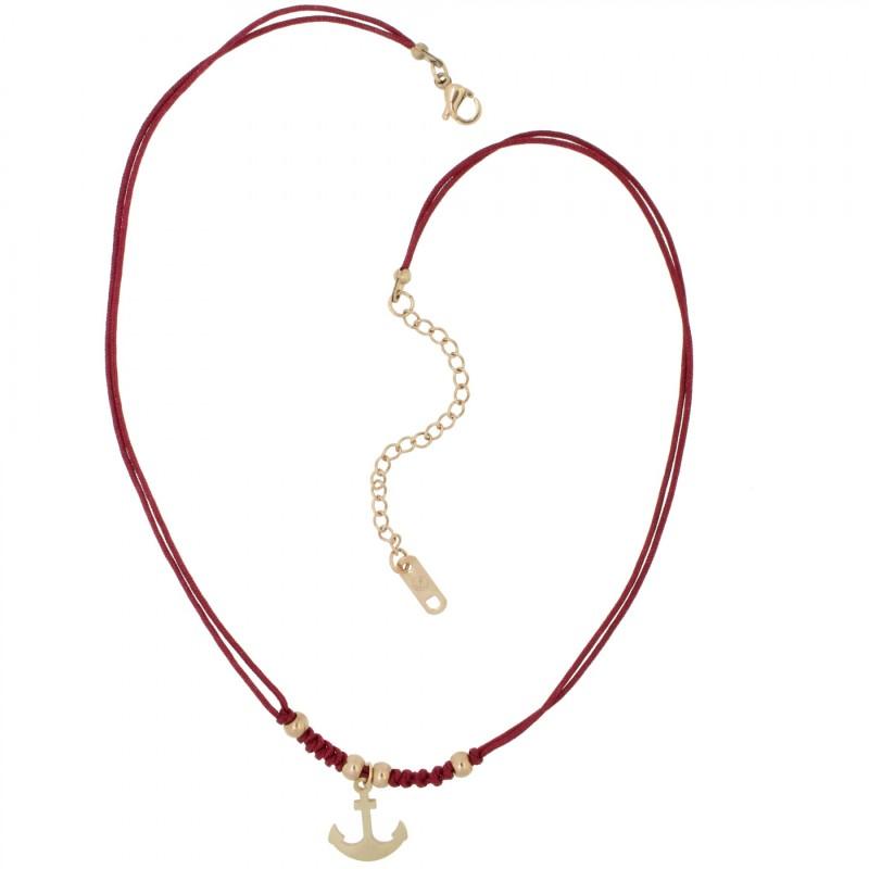 HAFEN-KLUNKER HARMONY Choker Halskette Anker 110427 Textil Edelstahl Rot Rosegold