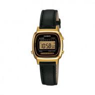 CASIO Retro Digitaluhr LA670WEGL-1EF Leder gold schwarz