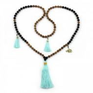 PEARL BAY Damen Perlenkette 107622 Quaste Metall Elefant Lava türkis schwarz braun