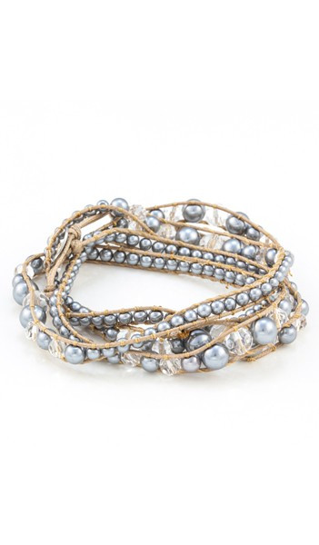MARC SWAN Wickelarmband 100133 Perle grau braun