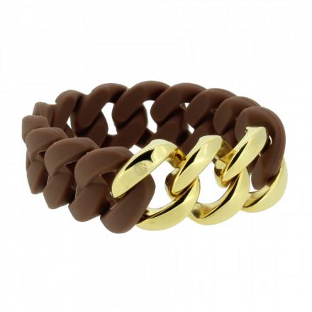 HANSE-KLUNKER ORIGINAL Damen Armband 107016 Edelstahl braun gold