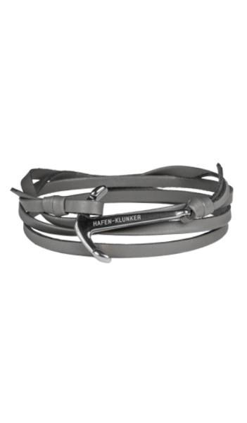 HAFEN-KLUNKER Wickelarmband Anker 107746 Edelstahl Leder grau silber