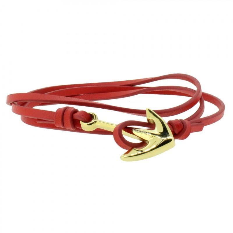 Armband Anker Damen In Gold & Rot Aus Edelstahl & Leder - Wickelarmband verstellbar, Geschenkidee Für Frauen