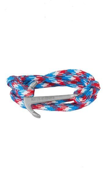 Armband Anker Damen In Silber Matt & Blau-Rot-Meliert Edelstahl & Nylon - Wickelarmband verstellbar, Geschenk Für Frauen