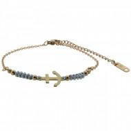 HAFEN-KLUNKER Anker Armband 108184 Textil Edelstahl Hellgrau Rosegold