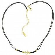 HAFEN-KLUNKER Choker Halskette Anker 108201 Textil Edelstahl Schwarz Gold