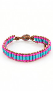 MARC SWAN Armband 106485 Leder pink blau